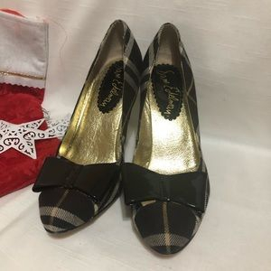 Sam Edelman plaid pump patent bow